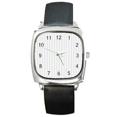 Dove Grey Pin Stripes on White Square Metal Watch