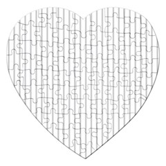 Dove Grey Pin Stripes on White Jigsaw Puzzle (Heart)