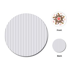 Dove Grey Pin Stripes on White Playing Cards (Round)