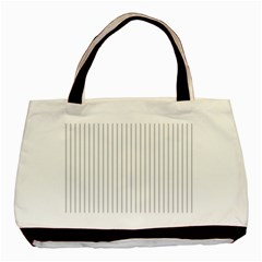 Dove Grey Pin Stripes On White Basic Tote Bag