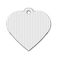 Dove Grey Pin Stripes on White Dog Tag Heart (Two Sides)