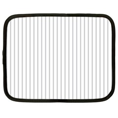 Dove Grey Pin Stripes on White Netbook Case (Large)