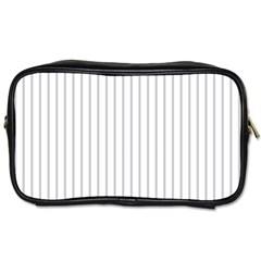 Dove Grey Pin Stripes on White Toiletries Bags 2-Side