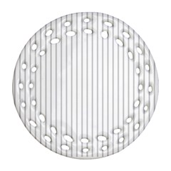 Dove Grey Pin Stripes on White Ornament (Round Filigree)