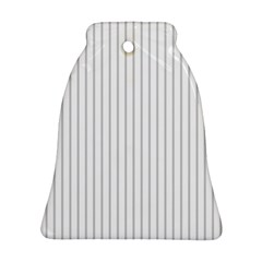 Dove Grey Pin Stripes on White Bell Ornament (Two Sides)
