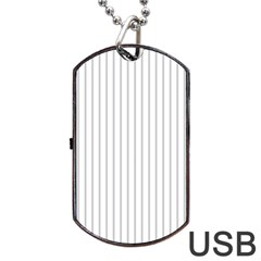 Dove Grey Pin Stripes on White Dog Tag USB Flash (One Side)