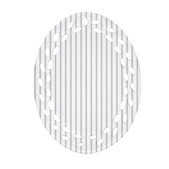 Dove Grey Pin Stripes on White Oval Filigree Ornament (Two Sides)