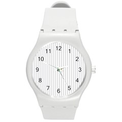 Dove Grey Pin Stripes on White Round Plastic Sport Watch (M)