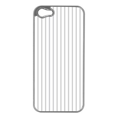 Dove Grey Pin Stripes on White Apple iPhone 5 Case (Silver)