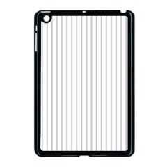 Dove Grey Pin Stripes on White Apple iPad Mini Case (Black)