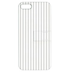 Dove Grey Pin Stripes on White Apple iPhone 5 Hardshell Case with Stand