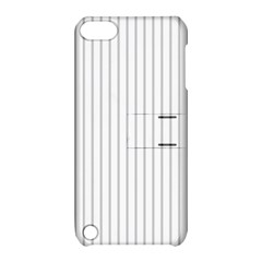 Dove Grey Pin Stripes on White Apple iPod Touch 5 Hardshell Case with Stand