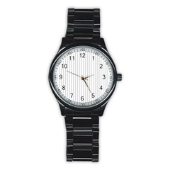 Dove Grey Pin Stripes on White Stainless Steel Round Watch