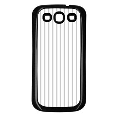 Dove Grey Pin Stripes on White Samsung Galaxy S3 Back Case (Black)