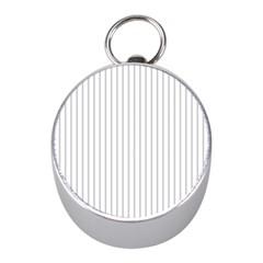 Dove Grey Pin Stripes on White Mini Silver Compasses