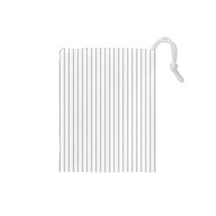 Dove Grey Pin Stripes on White Drawstring Pouches (Small)