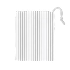 Dove Grey Pin Stripes on White Drawstring Pouches (Large)