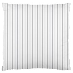 Dove Grey Pin Stripes on White Large Flano Cushion Case (Two Sides)