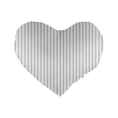 Dove Grey Pin Stripes on White Standard 16  Premium Flano Heart Shape Cushions