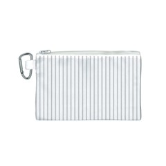 Dove Grey Pin Stripes on White Canvas Cosmetic Bag (S)
