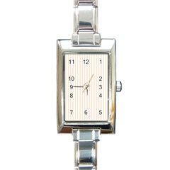 Pale Cucumber Pin Stripe on White Rectangle Italian Charm Watch
