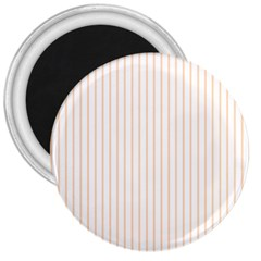 Pale Cucumber Pin Stripe on White 3  Magnets