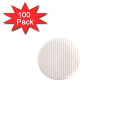 Pale Cucumber Pin Stripe on White 1  Mini Magnets (100 pack)