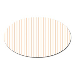Pale Cucumber Pin Stripe on White Oval Magnet