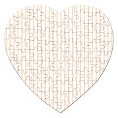 Pale Cucumber Pin Stripe on White Jigsaw Puzzle (Heart)