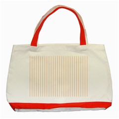Pale Cucumber Pin Stripe on White Classic Tote Bag (Red)