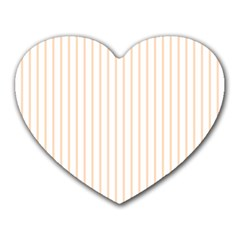 Pale Cucumber Pin Stripe on White Heart Mousepads
