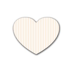 Pale Cucumber Pin Stripe on White Heart Coaster (4 pack)