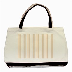 Pale Cucumber Pin Stripe on White Basic Tote Bag (Two Sides)