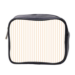 Pale Cucumber Pin Stripe on White Mini Toiletries Bag 2-Side