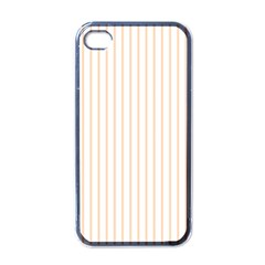 Pale Cucumber Pin Stripe on White Apple iPhone 4 Case (Black)