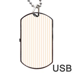 Pale Cucumber Pin Stripe on White Dog Tag USB Flash (One Side)