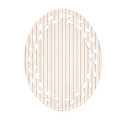 Pale Cucumber Pin Stripe on White Ornament (Oval Filigree)