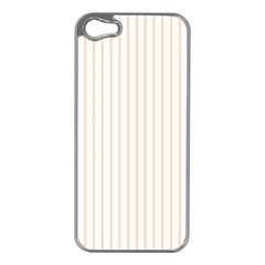 Pale Cucumber Pin Stripe on White Apple iPhone 5 Case (Silver)