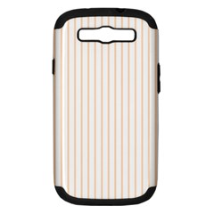 Pale Cucumber Pin Stripe on White Samsung Galaxy S III Hardshell Case (PC+Silicone)