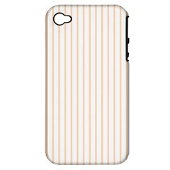 Pale Cucumber Pin Stripe on White Apple iPhone 4/4S Hardshell Case (PC+Silicone)