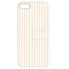 Pale Cucumber Pin Stripe on White Apple iPhone 5 Hardshell Case with Stand