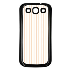 Pale Cucumber Pin Stripe on White Samsung Galaxy S3 Back Case (Black)
