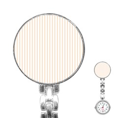 Pale Cucumber Pin Stripe on White Stainless Steel Nurses Watch