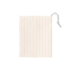 Pale Cucumber Pin Stripe on White Drawstring Pouches (Small)