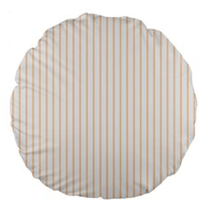 Pale Cucumber Pin Stripe on White Large 18  Premium Flano Round Cushions