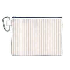 Pale Cucumber Pin Stripe on White Canvas Cosmetic Bag (L)