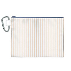 Pale Cucumber Pin Stripe on White Canvas Cosmetic Bag (XL)