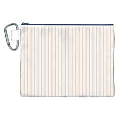 Pale Cucumber Pin Stripe on White Canvas Cosmetic Bag (XXL)