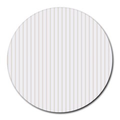 Classic Cream Pin Stripes on White Round Mousepads