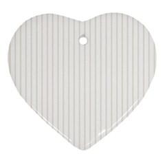 Classic Cream Pin Stripes on White Ornament (Heart)